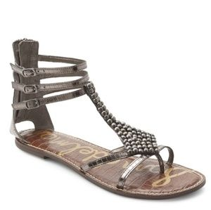Sam Edelman Ginger Sandals Pewter Boa Snake Skin
